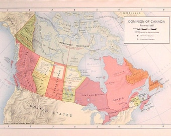 Dominion of Canada, Formed 1867 - 1957 Vintage Map - Vintage Atlas Page - Old Map - Rand McNally Map - Colored Map - 11 x 7