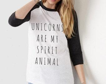Unicorns are my Spirit Animal UNISEX tri blend Baseball shirt screenprinted Mens Ladies