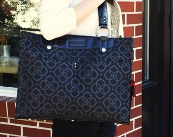 Laptop Tote - Silver and Black Flower Laptop Bag Polyester and Vegan Leather- Laptop Tote