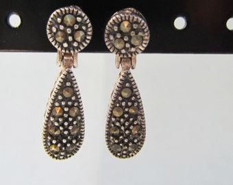 Vintage Sterling Silver and Marcasite Dangle Drop Earrings    - 0056