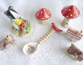 Tiny Ceramic Spoon with Red Bird, Painted Bird Nest and Brown Striped Handle
