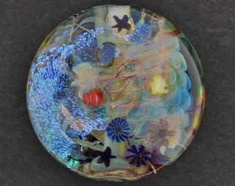 "Aquatic Fantasy 1"" Aquarium Bead with Clownfish, Jellyfish, & Parrotfish, Ocean Bead"