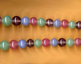 vintage peking glass style graduated japanese glass beads, pastel colors ORIGINAL strand over 60 years old