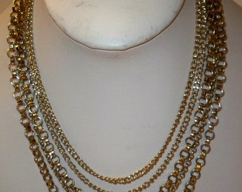 Gold Chains Necklace, 5 Strand Gold Chain Choker Necklace, Vintage Gold Chains Necklace