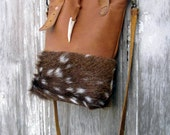 Axis Deer and Rocky Mountain Leather Cross Body Mini Tote Bag by Stacy Leigh Ready to Ship