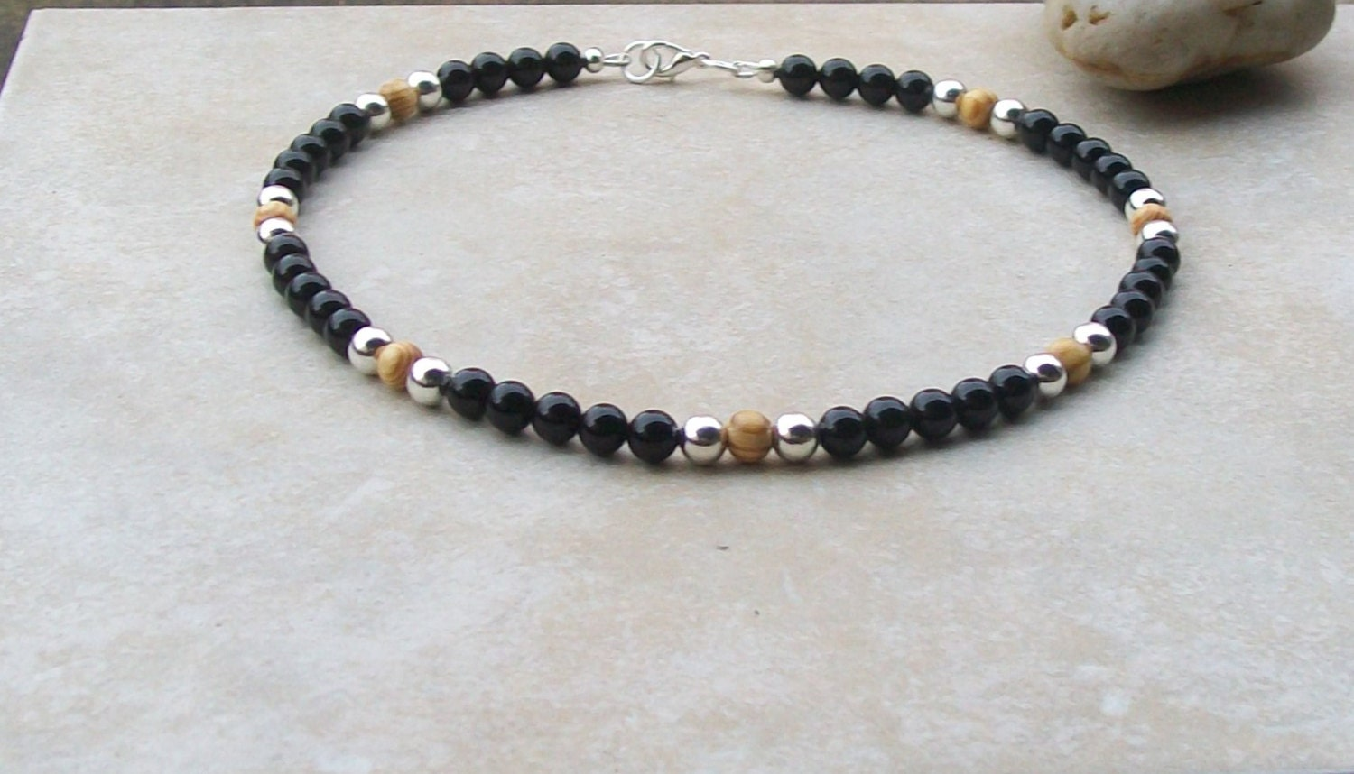 mens handmade necklaces mens beaded necklace handmade black onyx brown wood silver 650