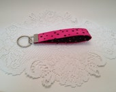 "Pink with Brown Polka Dotted Key Wristlet Fob ""Free Domestic Shipping"""