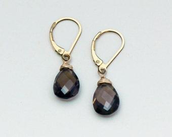 Smoky Quartz Earrings, Brown Jewelry, Gold Leverback, Small Dangle Earring, Smoky Quartz Jewelry