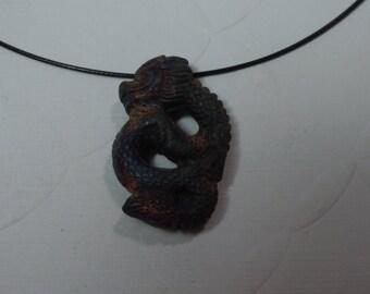 New! Large Raku Coiled Dragon