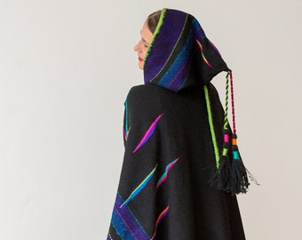 Plus Size Clothing Black Handwoven Poncho (Sold - Accepting custom orders)
