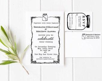Mason Jar Wedding invitation Rubber Stamp SET with Invitation and RSVP