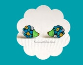 Hedgehogs stud earrings, Animal jewelry, illustrated acrylic jewelry, teal and green porcupine
