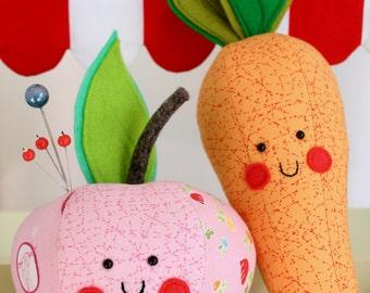 Apple & Carrot: Carrot PDF pattern, apple sewing pattern, carrot pincushion, play food pattern, apple plush, easy apple sewing, apple PDF