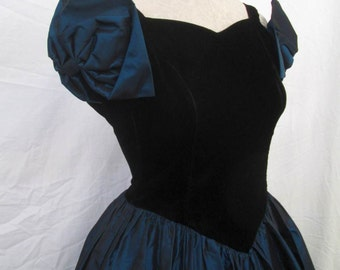 80s Metallic Blue dress Gunne Sax Big Bows vintage Prom dress Black Velvet  black lace dress XS
