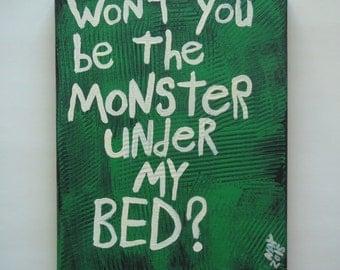Monster Under My Bed Folk Art Word Painting