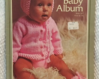 The Bernat Baby Album Book 187 - Knitting and Crochet Patterns for Baby - Layette, sweaters, blankets, hats, booties and more