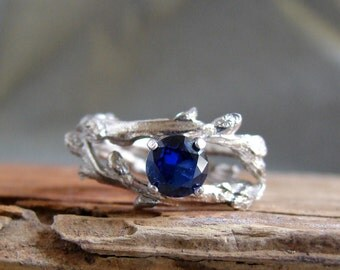 Sapphire Gemstone Silver Ring Twisted Botanical Jewelry Ring Jewelry September Birthstone Blue