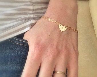 Personalized heart bracelet, sideways heart, gold initial bracelet, hand stamped letter, double strand dainty bracelet, bridesmaid bracelet