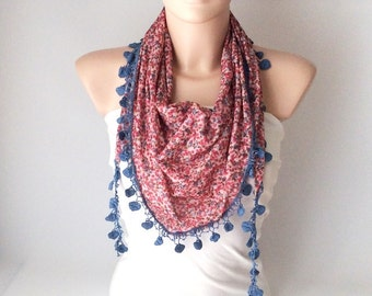 Blue color pink, purple flowers desing  with blue flower lace scarf