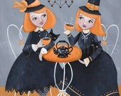 RESERVED Halloween CAT Art, Witches and their Familiars, Tea Party, Original CAT Folk Art Painting