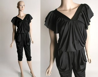Vintage Black Slouchy Draped Jumpsuit - Harem Pant Style Loose Fitting Pantsuit - Small
