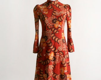 Vintage 1960s Psychedelic Dress - Autumn Fire Color Floral Print Long Sleeve Wool Dress - Small XS