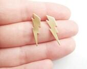 Lightning Bolt Earrings,Gift Idea,Gold Brass Lightning Bolt Earrings,Harry Potter Jewelry,Minimal Earrings,Hypoallergenic Studs (E251)