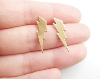 Lightning Bolt Earrings, Lightning Jewelry, Gold Brass Jewelry, Lightning Thunder Bolt Jewelry, Sterling Silver Hypoallergenic Studs (E251)