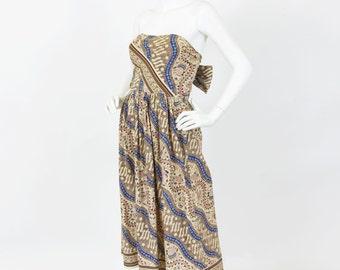 Vintage Batik Fish Print Bohemian Strapless Bow Back Sundress Sz XS S