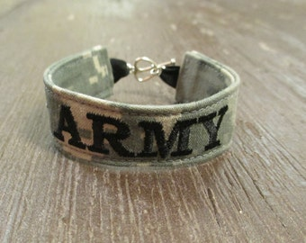 U.S. Army Name Tape Military Bracelet, Army Camo Bracelet, Custom Army Jewelry, Army Gifts