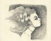 Frakenstein's Monster - original graphite drawing