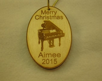 Personalized wooden christmas piano ornament tag