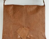 Large raw edge leather bag with vintage key - tan