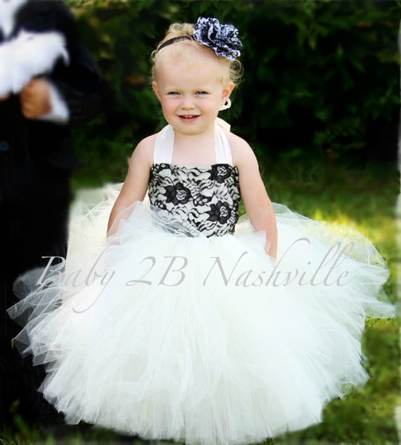 Vintage Dress Ivory Dress Black Lace Dress Flower Girl Dress Wedding Dress Baby Dress Tutu Dress Toddler Dress Tulle Dress Party Dress Girls