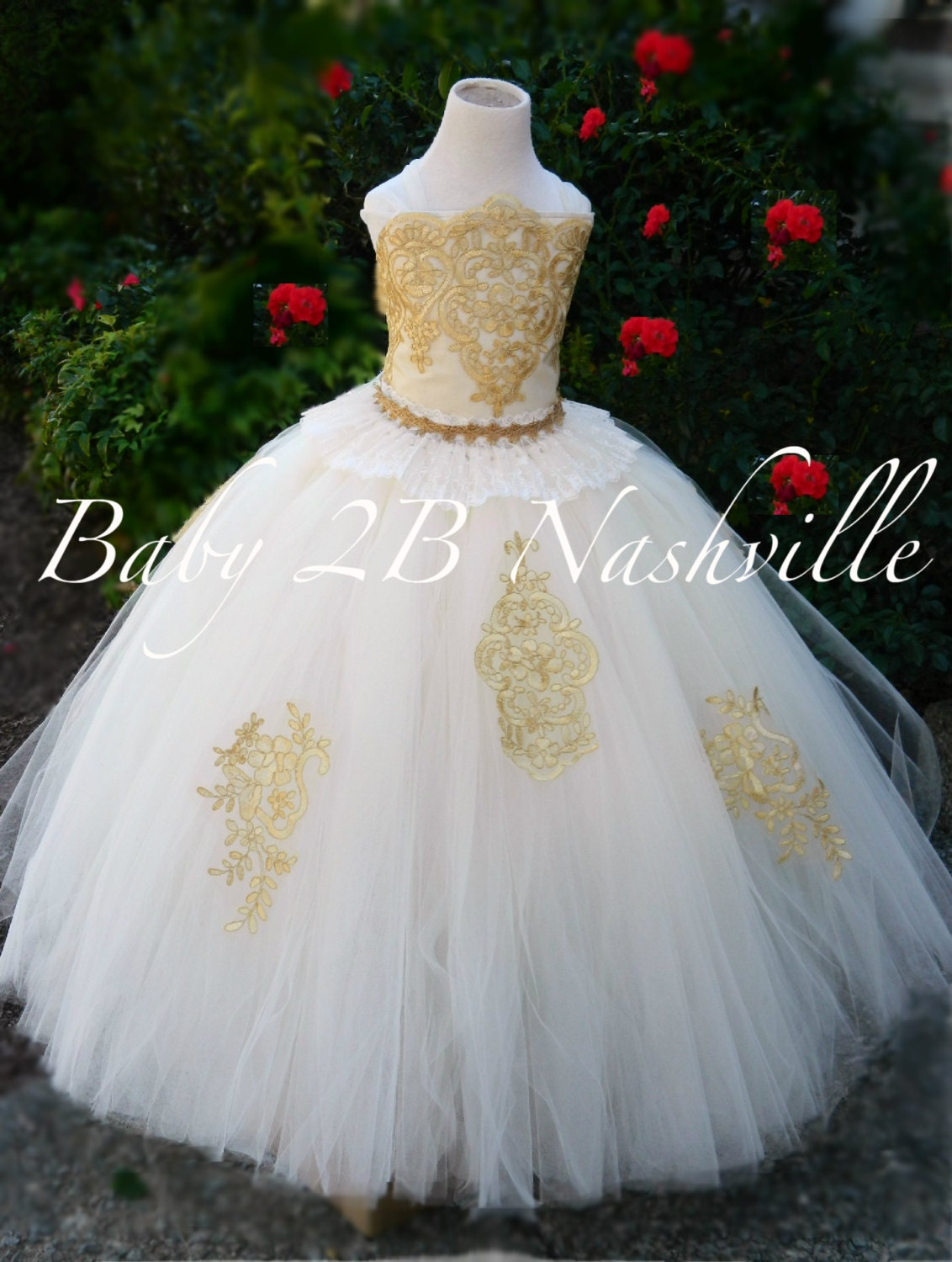 Gold Lace Dress Flower Girl Dress Ivory Dress Gold Dress Tulle