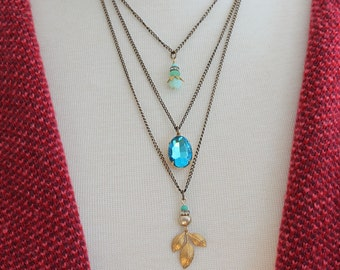Bohemian Layered Necklace  Bohemian Charm Necklace