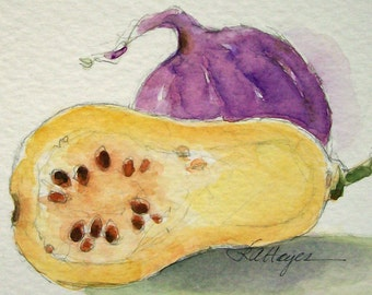 Original Watercolor Painting Butternut Squash and Onion Vegetable Garden Veggie Still Life ACEO Kitchen Art