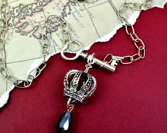HIGH BORN - Royal Crown and Antique Key Crystal Charm Necklace