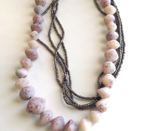Art jewelry necklace, translucent, beaded, recycled