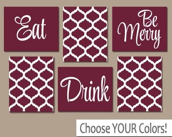 eat drink be merry wall art canvas or prints kitchen artwork dinning room - Maroon Room Decor
