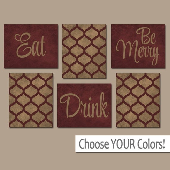 EAT DRINK Be Merry CANVAS Or Prints Kitchen Wall Art