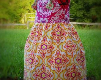 Summer Girls Dress Pink Yellow Knot Dress Whimsical Birthday Dress Sizes 2 3 4 5 6 7 8 10 12