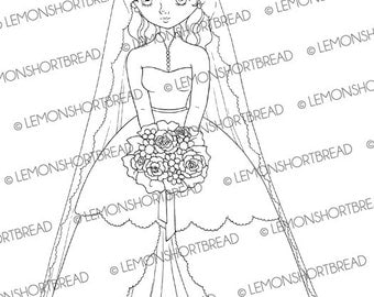 Digital Stamp Wedding Shy Bride, Digi Download Bridal, Princess Gown Dress, Graphic, Clip Art, Coloring Page, Scrapbooking Supplies