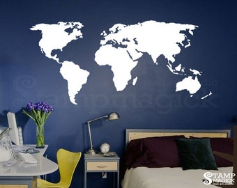 World Map Wall Decal for Home or Office - chalkboard white chalk board dry erase vinyl wall art sticker continents countries - K135W