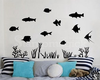 Ocean Fish Wall Decal for Baby Nursery or Children's Room - Sea Scene Theme Vinyl Wall Art Decor removable - K228K