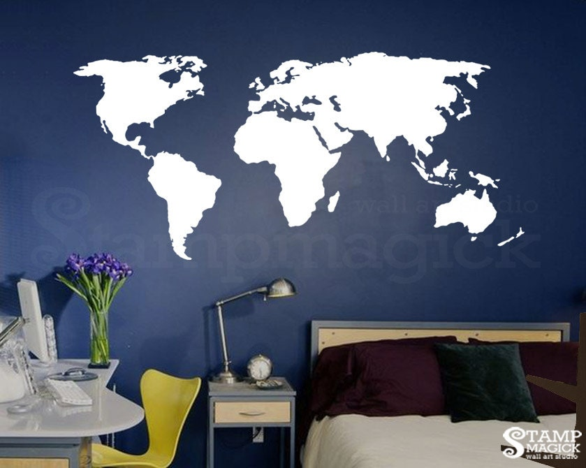 World map wall decal world map decal vinyl wall by stampmagick for Dry erase world map wall mural