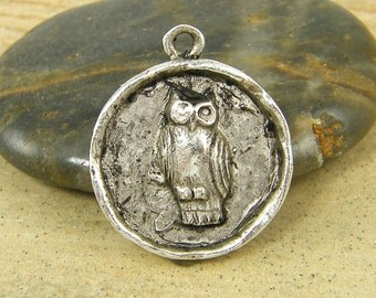 Owl Charm Owl Pendant Antique Silver Round Owl Charm Owl Medallion Bird Pendant Charms |NU1-10|1 XN