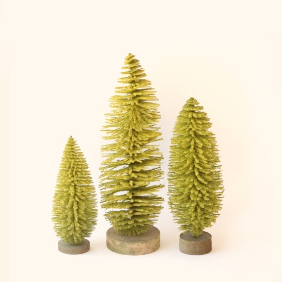 "Set of 3 EXTRA LARGE bottle brush trees, Olive green Sisal tree, Holiday crafts, DIY Christmas tree, Unique rustic decor - 7"", 9"", 11"""