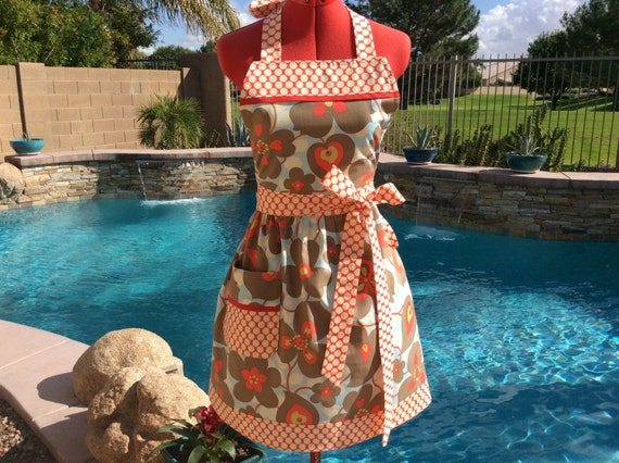Amy Butler Apron, Womens Aprons, Plus Size, Retro Style with Towel Loop, Kitchen, Full, Morning Glory Lotus