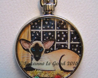 SIAMESE CAT KEYRING,  keychain, handbag charm with print from original painting by Suzanne Le Good